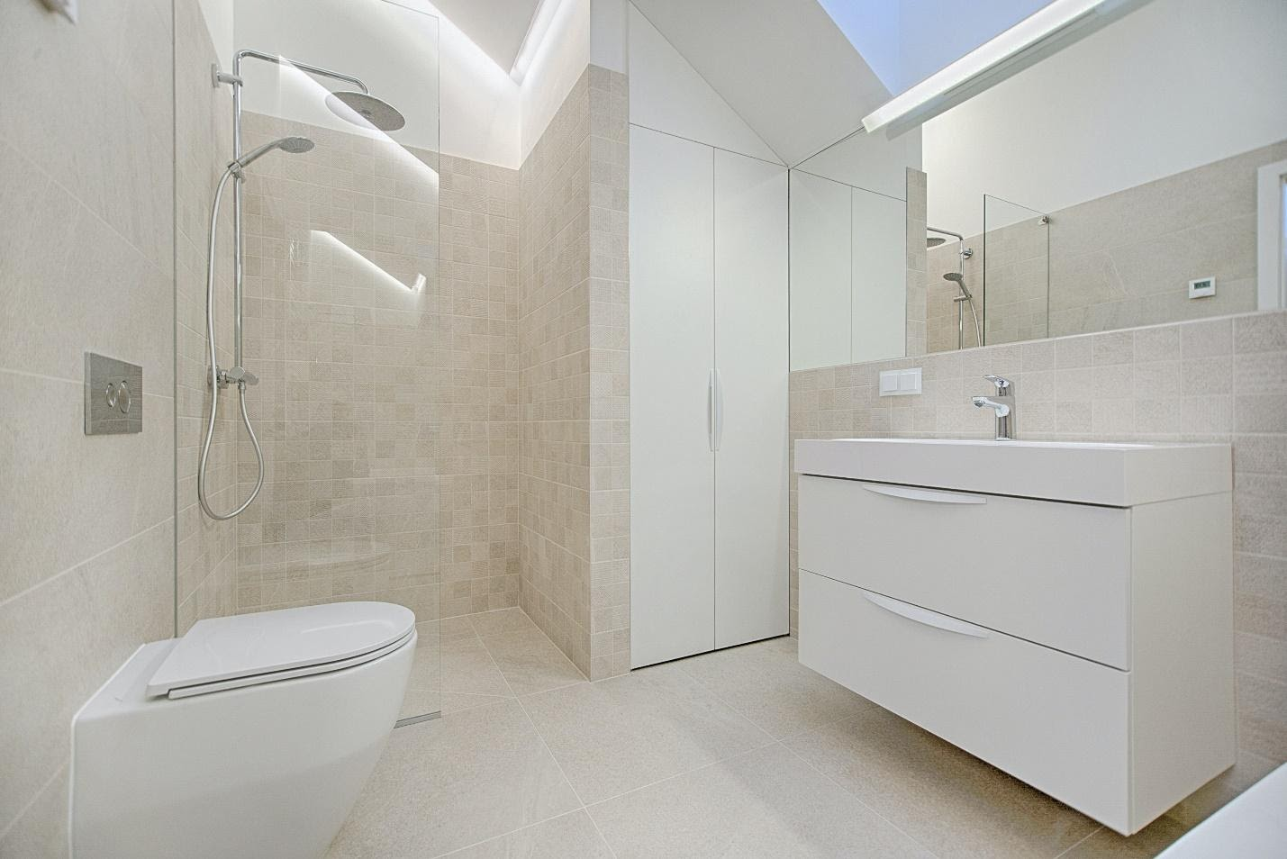 A cream color bathroom